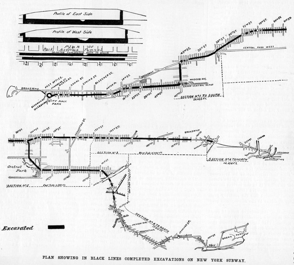 (266k, 1146x1036)<br><b>Country:</b> United States<br><b>City:</b> New York<br><b>System:</b> New York City Transit<br><b>Photo by:</b> <i>Scientific American</i>-Sep. 1902<br><b>Date:</b> 1902<br><b>Notes:</b> Diagram showing progress of Rapid Transit Tunnel construction.<br><b>Viewed (this week/total):</b> 0 / 3793