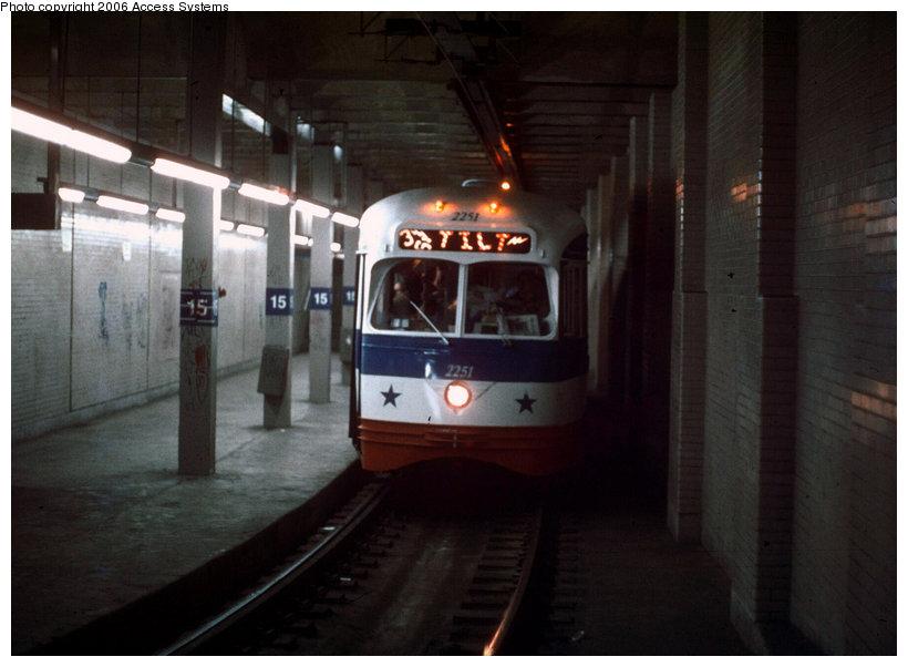 (102k, 820x602)<br><b>Country:</b> United States<br><b>City:</b> Philadelphia, PA<br><b>System:</b> SEPTA (or Predecessor)<br><b>Line:</b> SEPTA Subway-Surface<br><b>Location:</b> 15th Street <br><b>Route:</b> Fan Trip<br><b>Car:</b> PTC/SEPTA ex-Kansas City PCC (St.Louis, 1946)  2251 <br><b>Photo by:</b> Access Systems<br><b>Date:</b> 12/31/1975<br><b>Notes:</b> Note home-made roll sign.<br><b>Viewed (this week/total):</b> 3 / 3940