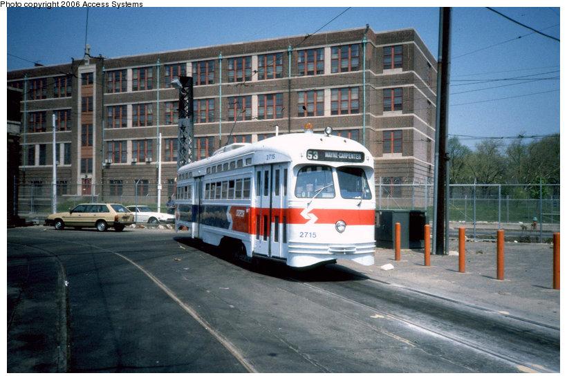 (148k, 820x550)<br><b>Country:</b> United States<br><b>City:</b> Philadelphia, PA<br><b>System:</b> SEPTA (or Predecessor)<br><b>Line:</b> Rt. 53-Wayne Ave. <br><b>Location:</b> 10th/Luzerne <br><b>Route:</b> Rt 53<br><b>Car:</b> PTC/SEPTA Postwar All-electric PCC (St.Louis, 1947)  2715 <br><b>Photo by:</b> Access Systems<br><b>Viewed (this week/total):</b> 2 / 1445