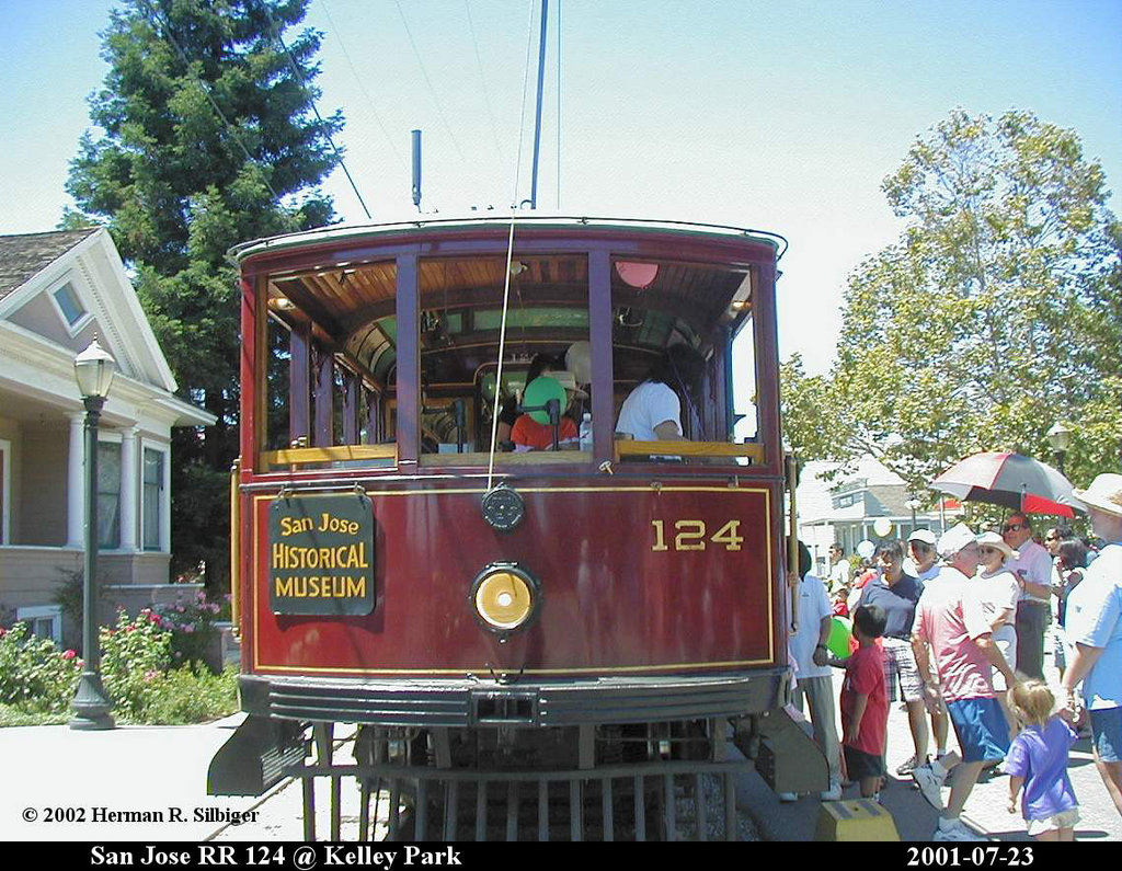 (263k, 1024x795)<br><b>Country:</b> United States<br><b>City:</b> San Jose, CA<br><b>System:</b> Kelley Park Vintage Trolley <br><b>Car:</b>  124 <br><b>Photo by:</b> Herman R. Silbiger<br><b>Date:</b> 7/23/2001<br><b>Viewed (this week/total):</b> 0 / 1351