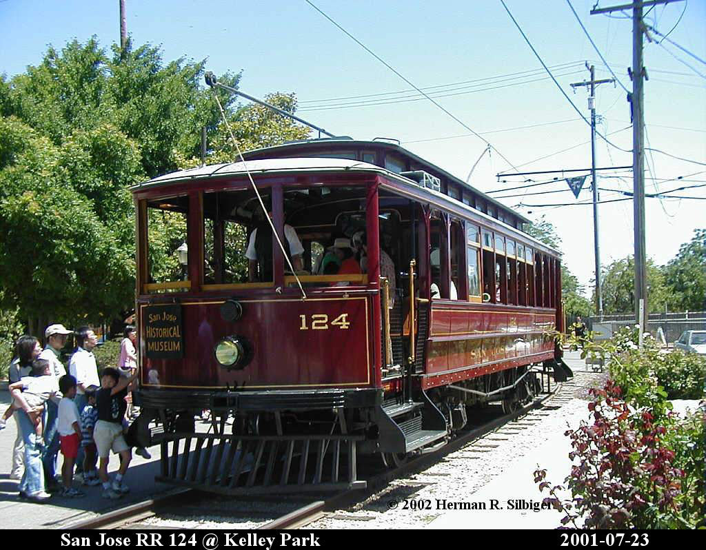 (196k, 1024x798)<br><b>Country:</b> United States<br><b>City:</b> San Jose, CA<br><b>System:</b> Kelley Park Vintage Trolley <br><b>Car:</b>  124 <br><b>Photo by:</b> Herman R. Silbiger<br><b>Date:</b> 7/23/2001<br><b>Viewed (this week/total):</b> 0 / 1333