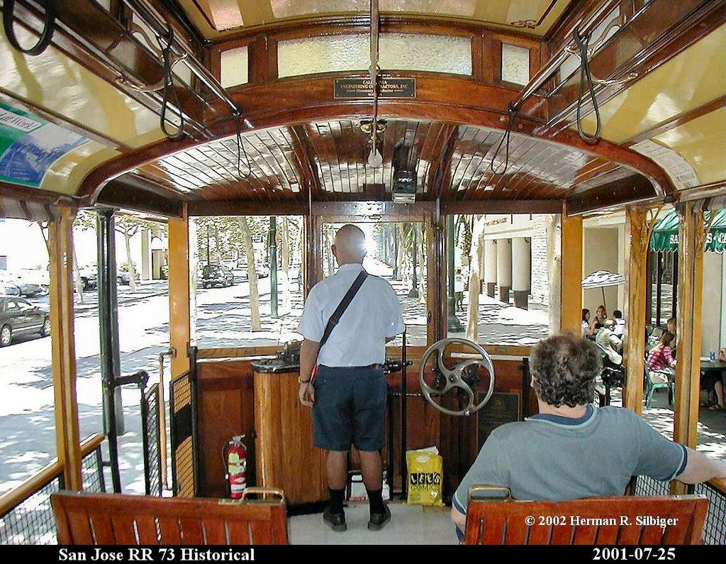(302k, 1024x795)<br><b>Country:</b> United States<br><b>City:</b> San Jose, CA<br><b>System:</b> Santa Clara VTA<br><b>Car:</b>  73 <br><b>Photo by:</b> Herman R. Silbiger<br><b>Date:</b> 7/25/2001<br><b>Viewed (this week/total):</b> 0 / 1275