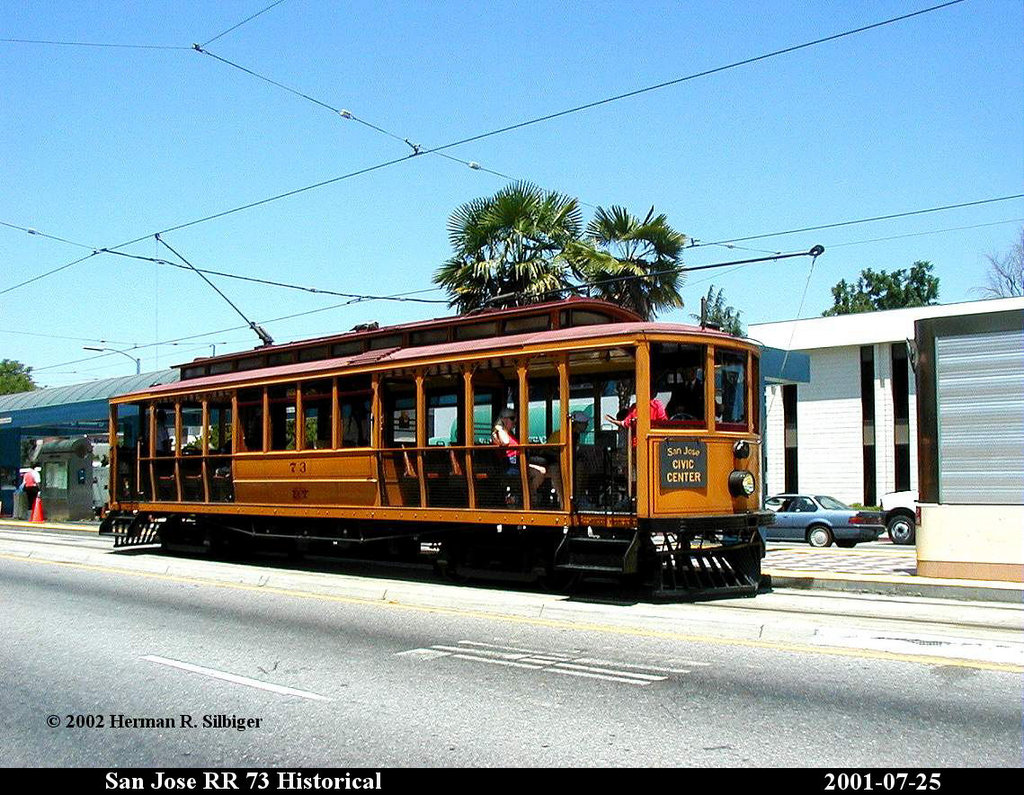 (256k, 1024x795)<br><b>Country:</b> United States<br><b>City:</b> San Jose, CA<br><b>System:</b> Santa Clara VTA<br><b>Car:</b>  73 <br><b>Photo by:</b> Herman R. Silbiger<br><b>Date:</b> 7/25/2001<br><b>Viewed (this week/total):</b> 0 / 1202