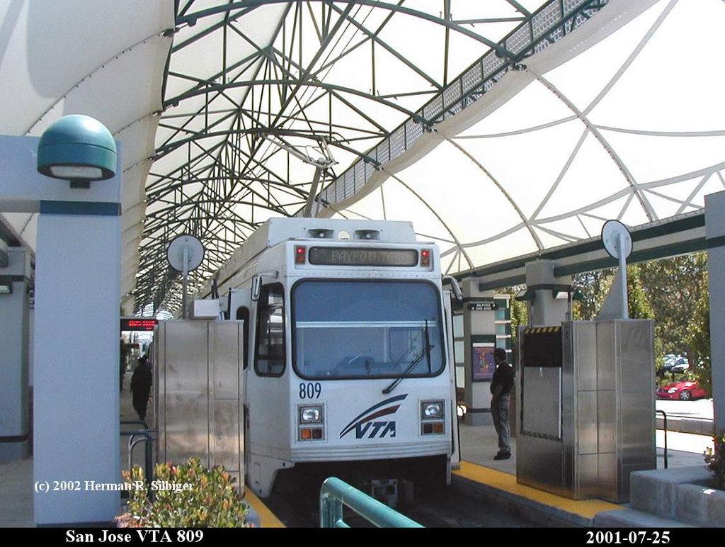 (200k, 1024x772)<br><b>Country:</b> United States<br><b>City:</b> San Jose, CA<br><b>System:</b> Santa Clara VTA<br><b>Line:</b> VTA Tasman East/Capitol<br><b>Location:</b> Baypointe <br><b>Car:</b> VTA UTDC 809 <br><b>Photo by:</b> Herman R. Silbiger<br><b>Date:</b> 7/25/2001<br><b>Viewed (this week/total):</b> 0 / 1242