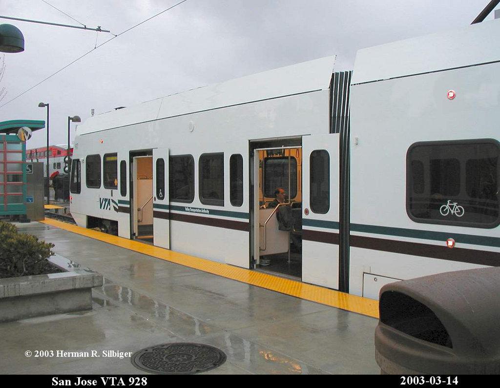 (136k, 1024x795)<br><b>Country:</b> United States<br><b>City:</b> San Jose, CA<br><b>System:</b> Santa Clara VTA<br><b>Line:</b> VTA Tasman West/Mountain View<br><b>Location:</b> Mountain View <br><b>Car:</b> VTA Kinki-Sharyo 928 <br><b>Photo by:</b> Herman R. Silbiger<br><b>Date:</b> 3/14/2003<br><b>Viewed (this week/total):</b> 1 / 1424