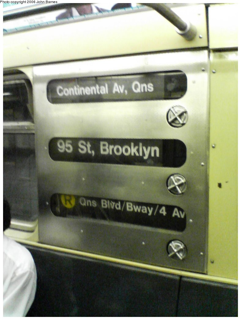 (119k, 788x1044)<br><b>Country:</b> United States<br><b>City:</b> New York<br><b>System:</b> New York City Transit<br><b>Route:</b> R<br><b>Car:</b> R-32 (Budd, 1964)  3845 <br><b>Photo by:</b> John Barnes<br><b>Date:</b> 8/25/2006<br><b>Notes:</b> Original cranks on rollsign.<br><b>Viewed (this week/total):</b> 0 / 3678