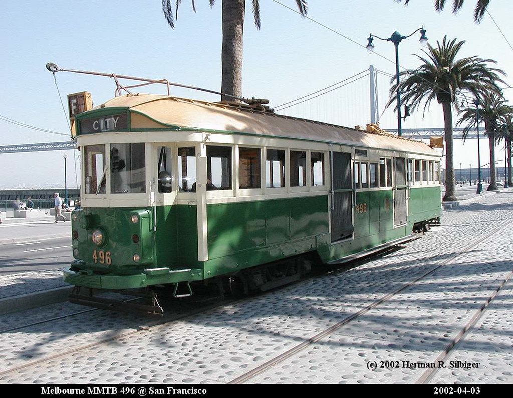 (235k, 1024x795)<br><b>Country:</b> United States<br><b>City:</b> San Francisco/Bay Area, CA<br><b>System:</b> SF MUNI<br><b>Location:</b> Embarcadero/Mission <br><b>Car:</b> Melbourne W2 Class (1923-1931)  496 <br><b>Photo by:</b> Herman R. Silbiger<br><b>Date:</b> 4/3/2002<br><b>Notes:</b> Melbourne W2 496.<br><b>Viewed (this week/total):</b> 1 / 725