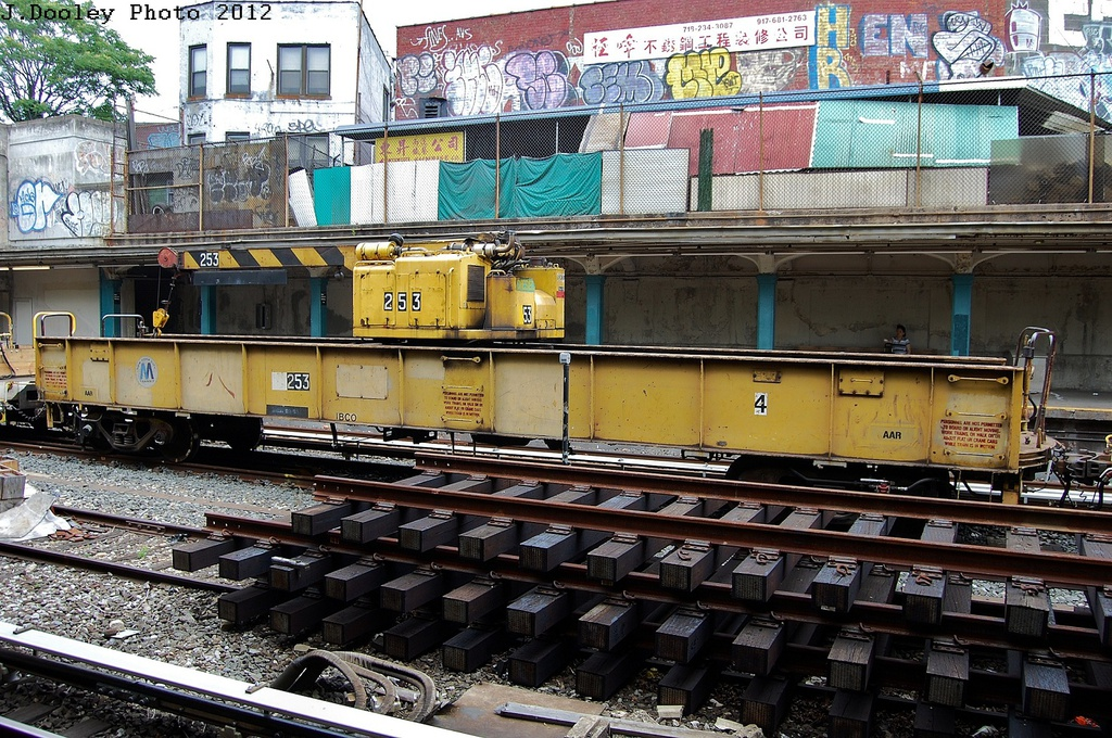 (444k, 1024x680)<br><b>Country:</b> United States<br><b>City:</b> New York<br><b>System:</b> New York City Transit<br><b>Line:</b> BMT Sea Beach Line<br><b>Location:</b> New Utrecht Avenue <br><b>Route:</b> Work Service<br><b>Car:</b> Crane Car 253 <br><b>Photo by:</b> John Dooley<br><b>Date:</b> 6/1/2012<br><b>Viewed (this week/total):</b> 2 / 946