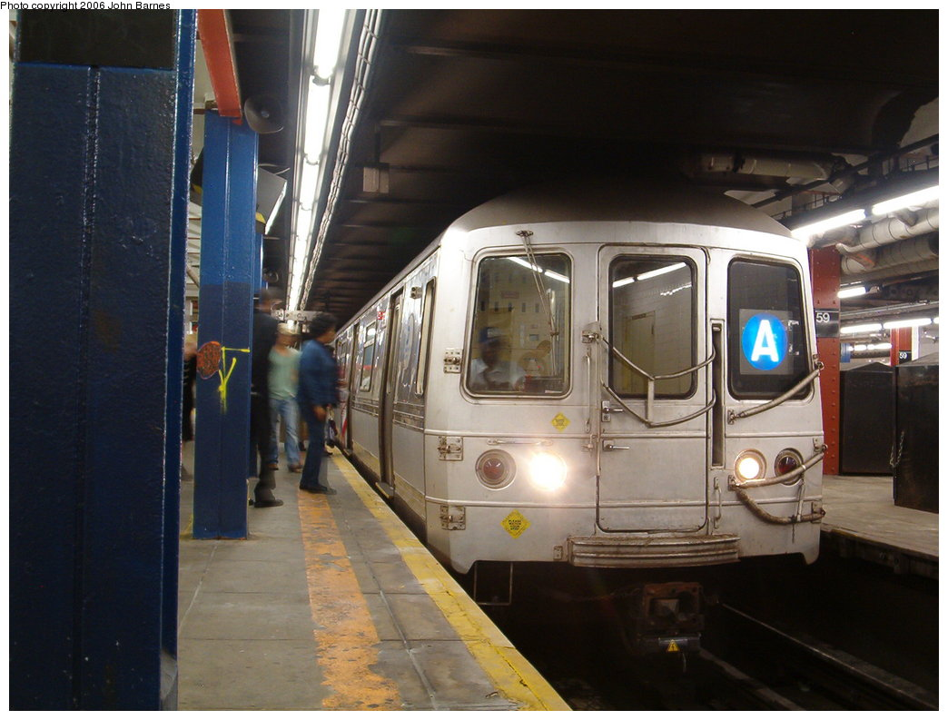 (157k, 1044x793)<br><b>Country:</b> United States<br><b>City:</b> New York<br><b>System:</b> New York City Transit<br><b>Line:</b> IND 8th Avenue Line<br><b>Location:</b> 59th Street/Columbus Circle <br><b>Route:</b> A<br><b>Car:</b> R-44 (St. Louis, 1971-73) 5226 <br><b>Photo by:</b> John Barnes<br><b>Date:</b> 8/27/2006<br><b>Viewed (this week/total):</b> 1 / 4493