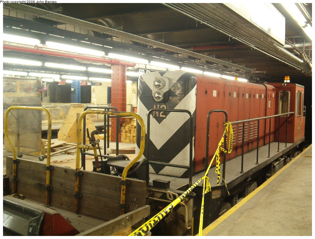 (197k, 1044x793)<br><b>Country:</b> United States<br><b>City:</b> New York<br><b>System:</b> New York City Transit<br><b>Line:</b> IND 8th Avenue Line<br><b>Location:</b> 59th Street/Columbus Circle <br><b>Route:</b> Work Service<br><b>Car:</b> R-47 (SBK) Locomotive  N2 <br><b>Photo by:</b> John Barnes<br><b>Date:</b> 8/27/2006<br><b>Viewed (this week/total):</b> 0 / 2443