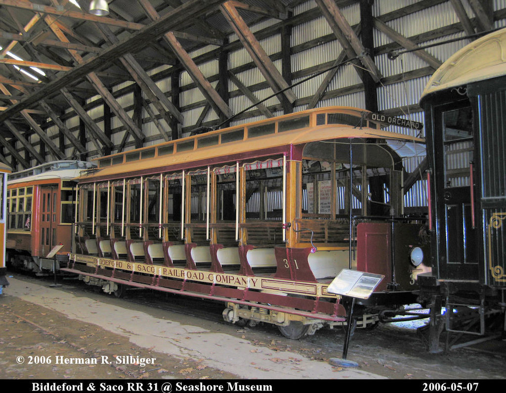 (257k, 1024x795)<br><b>Country:</b> United States<br><b>City:</b> Kennebunk, ME<br><b>System:</b> Seashore Trolley Museum <br><b>Car:</b> Biddeford & Saco 31 <br><b>Photo by:</b> Herman R. Silbiger<br><b>Date:</b> 5/7/2006<br><b>Viewed (this week/total):</b> 2 / 1857