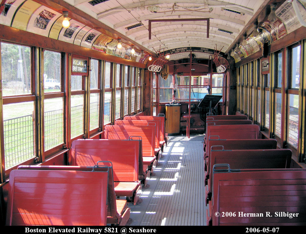 (291k, 1024x782)<br><b>Country:</b> United States<br><b>City:</b> Kennebunk, ME<br><b>System:</b> Seashore Trolley Museum <br><b>Car:</b> MBTA 5821 <br><b>Photo by:</b> Herman R. Silbiger<br><b>Date:</b> 5/7/2006<br><b>Viewed (this week/total):</b> 0 / 1209