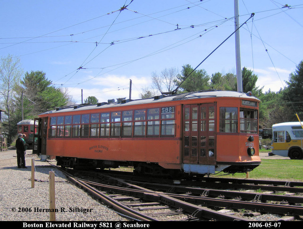 (246k, 1024x776)<br><b>Country:</b> United States<br><b>City:</b> Kennebunk, ME<br><b>System:</b> Seashore Trolley Museum <br><b>Car:</b> MBTA 5821 <br><b>Photo by:</b> Herman R. Silbiger<br><b>Date:</b> 5/7/2006<br><b>Viewed (this week/total):</b> 0 / 1092