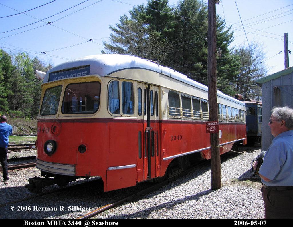 (267k, 1024x795)<br><b>Country:</b> United States<br><b>City:</b> Kennebunk, ME<br><b>System:</b> Seashore Trolley Museum <br><b>Car:</b> MBTA/BSRy PCC Dallas Double End (Pullman-Standard, 1945)  3340 <br><b>Photo by:</b> Herman R. Silbiger<br><b>Date:</b> 5/7/2006<br><b>Notes:</b> Former Dallas Railway & Terminal 615<br><b>Viewed (this week/total):</b> 7 / 2034
