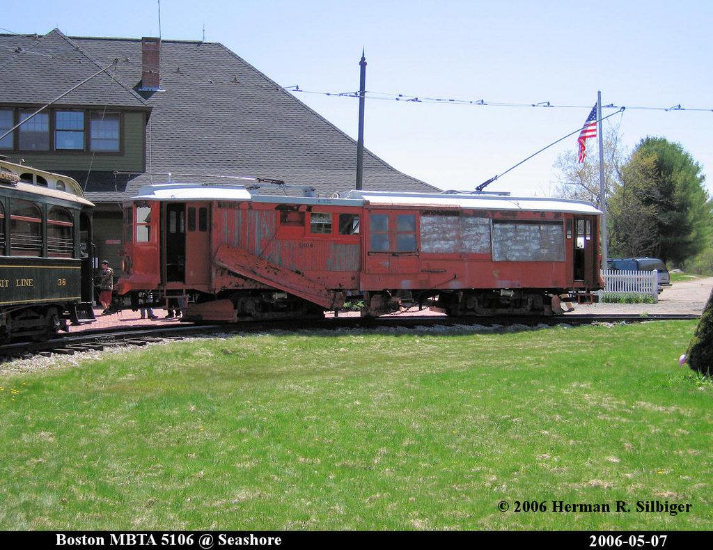 (269k, 1024x790)<br><b>Country:</b> United States<br><b>City:</b> Kennebunk, ME<br><b>System:</b> Seashore Trolley Museum <br><b>Car:</b> MBTA 5106 <br><b>Photo by:</b> Herman R. Silbiger<br><b>Date:</b> 5/7/2006<br><b>Viewed (this week/total):</b> 0 / 1166