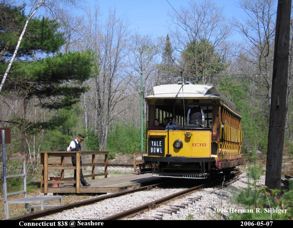 (326k, 1024x795)<br><b>Country:</b> United States<br><b>City:</b> Kennebunk, ME<br><b>System:</b> Seashore Trolley Museum <br><b>Car:</b> Connecticut Company 838 <br><b>Photo by:</b> Herman R. Silbiger<br><b>Date:</b> 5/7/2006<br><b>Viewed (this week/total):</b> 0 / 1145