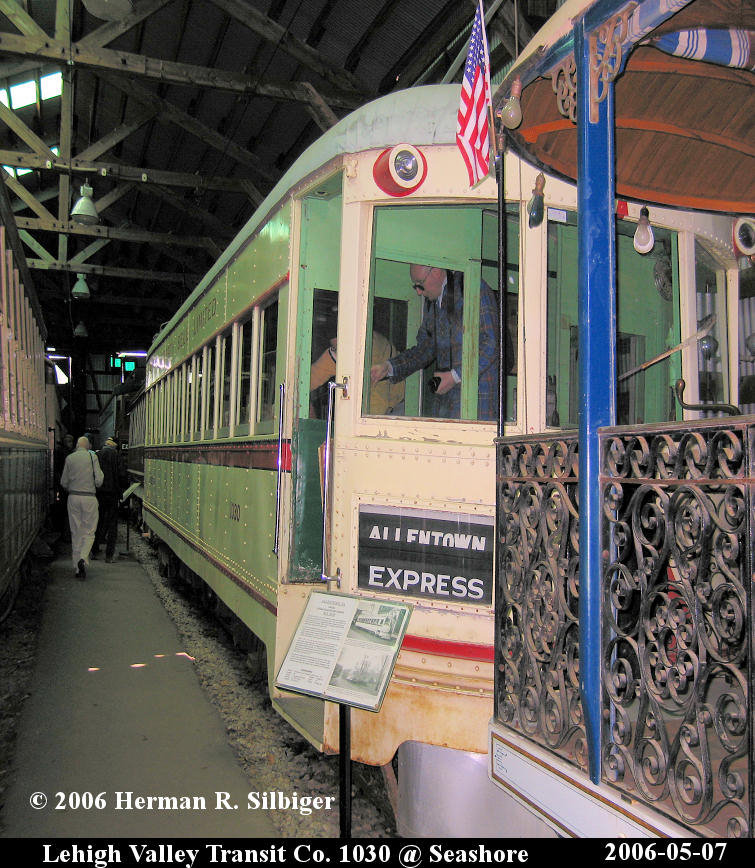 (204k, 755x868)<br><b>Country:</b> United States<br><b>City:</b> Kennebunk, ME<br><b>System:</b> Seashore Trolley Museum <br><b>Car:</b> Lehigh Valley 1030 <br><b>Photo by:</b> Herman R. Silbiger<br><b>Date:</b> 5/7/2006<br><b>Viewed (this week/total):</b> 0 / 943
