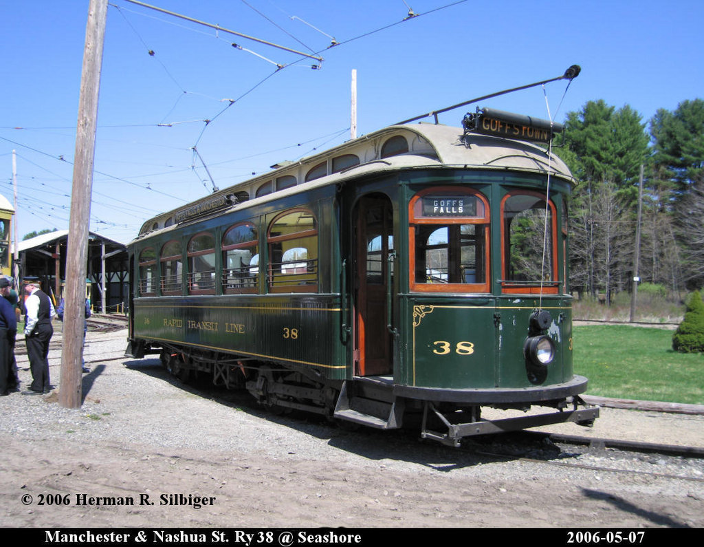 (218k, 1024x795)<br><b>Country:</b> United States<br><b>City:</b> Kennebunk, ME<br><b>System:</b> Seashore Trolley Museum <br><b>Car:</b> Manchester & Nashua 38 <br><b>Photo by:</b> Herman R. Silbiger<br><b>Date:</b> 5/7/2006<br><b>Viewed (this week/total):</b> 2 / 1076