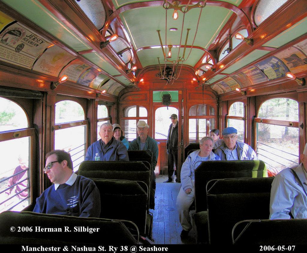 (275k, 1024x842)<br><b>Country:</b> United States<br><b>City:</b> Kennebunk, ME<br><b>System:</b> Seashore Trolley Museum <br><b>Car:</b> Manchester & Nashua 38 <br><b>Photo by:</b> Herman R. Silbiger<br><b>Date:</b> 5/7/2006<br><b>Viewed (this week/total):</b> 3 / 1079