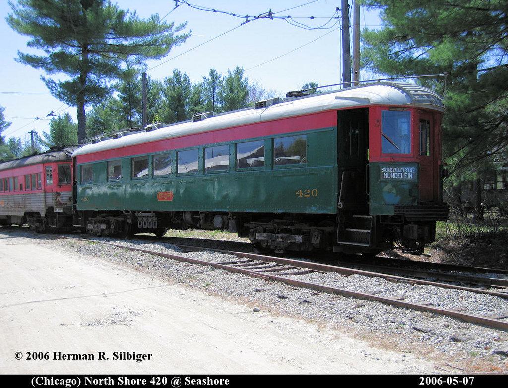 (279k, 1024x781)<br><b>Country:</b> United States<br><b>City:</b> Kennebunk, ME<br><b>System:</b> Seashore Trolley Museum <br><b>Car:</b> Chicago North Shore 420 <br><b>Photo by:</b> Herman R. Silbiger<br><b>Date:</b> 5/7/2006<br><b>Viewed (this week/total):</b> 1 / 1141
