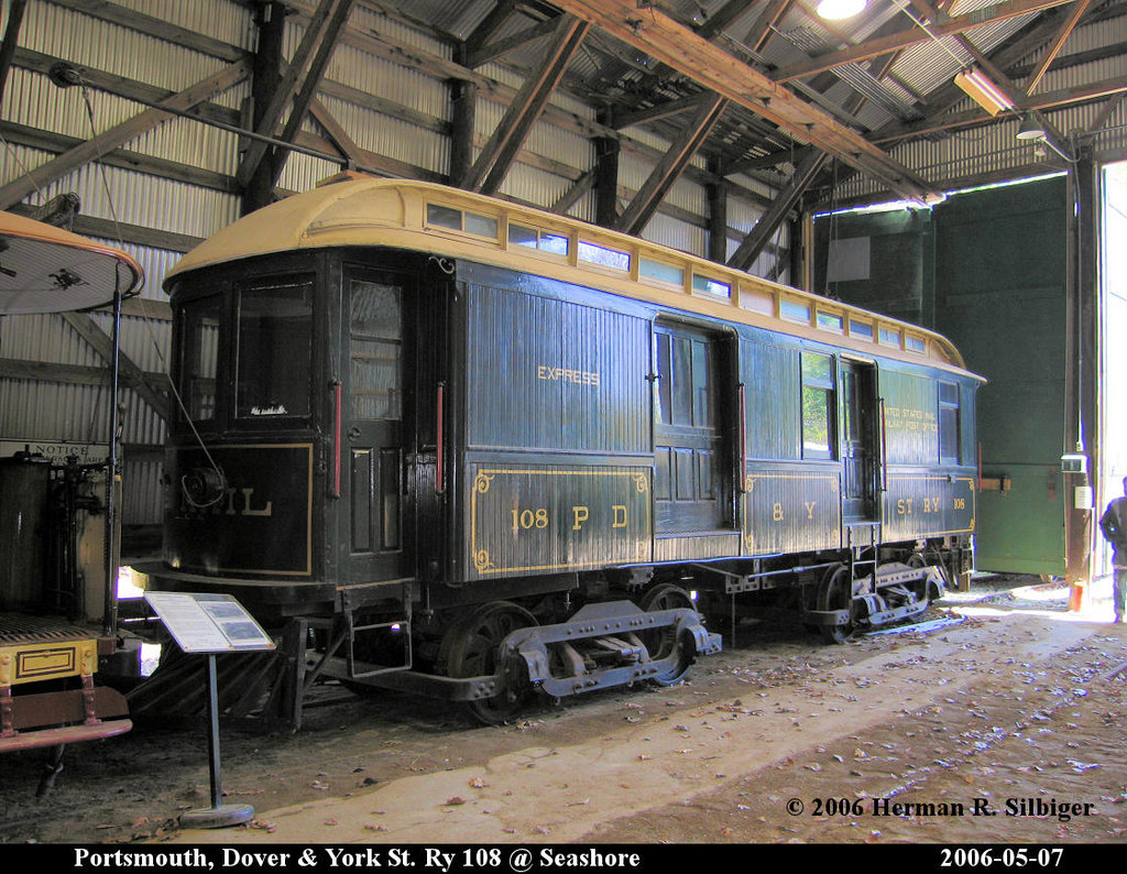 (278k, 1024x794)<br><b>Country:</b> United States<br><b>City:</b> Kennebunk, ME<br><b>System:</b> Seashore Trolley Museum <br><b>Car:</b> Portsmouth, Dover, & York 108 <br><b>Photo by:</b> Herman R. Silbiger<br><b>Date:</b> 5/7/2006<br><b>Viewed (this week/total):</b> 3 / 1078