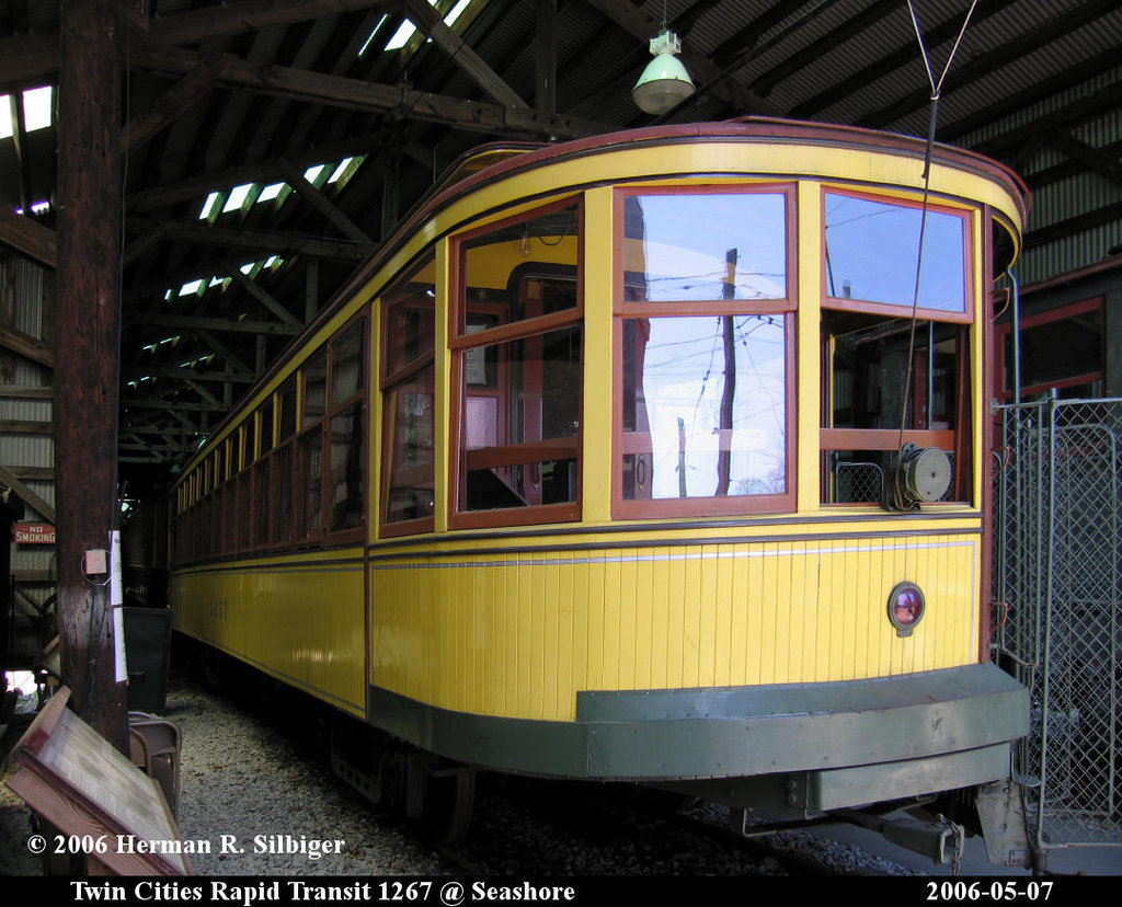 (224k, 1024x828)<br><b>Country:</b> United States<br><b>City:</b> Kennebunk, ME<br><b>System:</b> Seashore Trolley Museum <br><b>Car:</b> Twin City Rapid Transit 1267 <br><b>Photo by:</b> Herman R. Silbiger<br><b>Date:</b> 5/7/2006<br><b>Viewed (this week/total):</b> 0 / 940