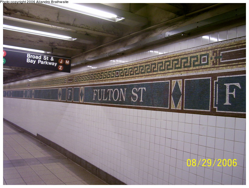 (121k, 820x620)<br><b>Country:</b> United States<br><b>City:</b> New York<br><b>System:</b> New York City Transit<br><b>Line:</b> BMT Nassau Street/Jamaica Line<br><b>Location:</b> Fulton Street <br><b>Photo by:</b> Aliandro Brathwaite<br><b>Date:</b> 8/29/2006<br><b>Viewed (this week/total):</b> 1 / 2345