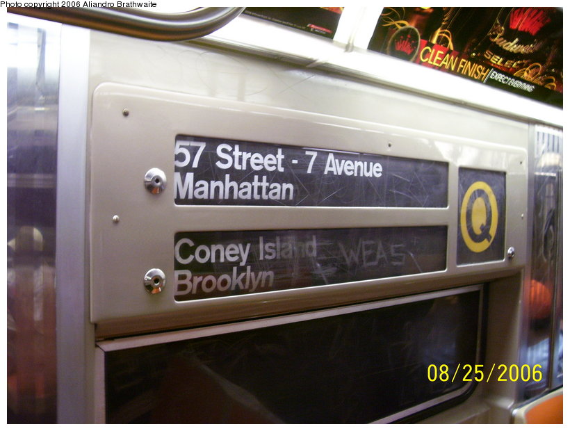 (103k, 820x620)<br><b>Country:</b> United States<br><b>City:</b> New York<br><b>System:</b> New York City Transit<br><b>Route:</b> Q<br><b>Car:</b> R-68 (Westinghouse-Amrail, 1986-1988)  2807 <br><b>Photo by:</b> Aliandro Brathwaite<br><b>Date:</b> 8/25/2006<br><b>Notes:</b> Note original R68-type rollsign; most cars have had new ones installed.<br><b>Viewed (this week/total):</b> 0 / 3563