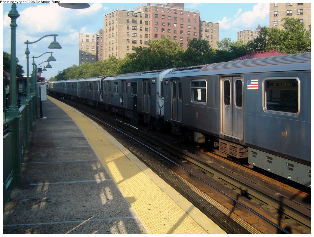 (260k, 1044x788)<br><b>Country:</b> United States<br><b>City:</b> New York<br><b>System:</b> New York City Transit<br><b>Line:</b> IRT White Plains Road Line<br><b>Location:</b> Jackson Avenue <br><b>Route:</b> 5<br><b>Car:</b> R-142A (Option Order, Kawasaki, 2002-2003)  7705/7704 <br><b>Photo by:</b> DeAndre Burrell<br><b>Date:</b> 7/30/2006<br><b>Viewed (this week/total):</b> 0 / 4536