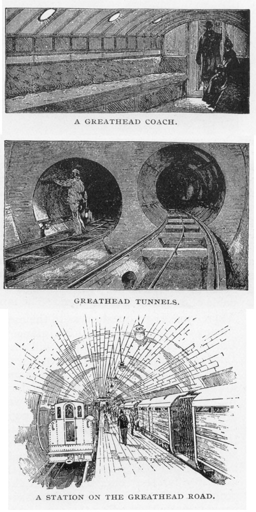 (209k, 512x1024)<br><b>Photo by:</b> Rapid Transit in Great Cities (1891)<br><b>Notes:</b> A Greathead Coach/Greathead Tunnels/A Station On The Greathead Road.<br><b>Viewed (this week/total):</b> 0 / 2762