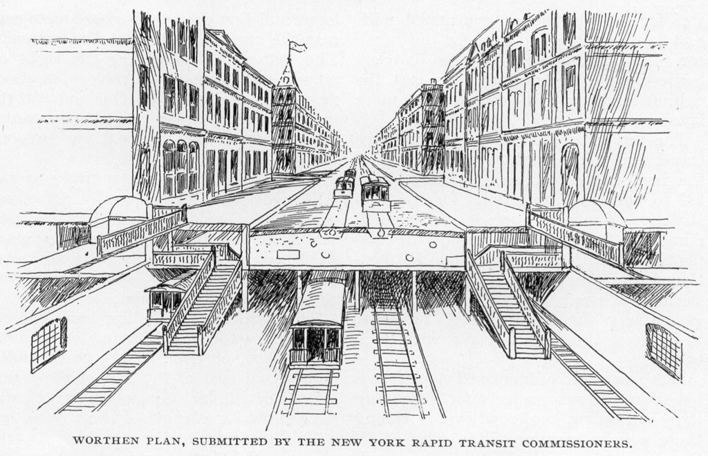 (239k, 1024x659)<br><b>Photo by:</b> Rapid Transit in Great Cities (1891)<br><b>Notes:</b> Worthen Plan, Submitted By The New York Rapid Transit Commissioners.<br><b>Viewed (this week/total):</b> 1 / 3329
