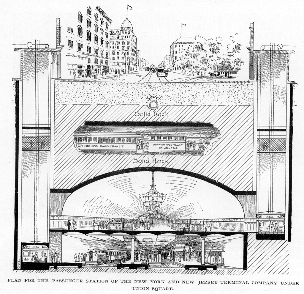 (407k, 1024x989)<br><b>Photo by:</b> Rapid Transit in Great Cities (1891)<br><b>Notes:</b> Plan For The Passenger Station Of The New York And New Jersey Terminal Company Under Union Square.<br><b>Viewed (this week/total):</b> 0 / 3051