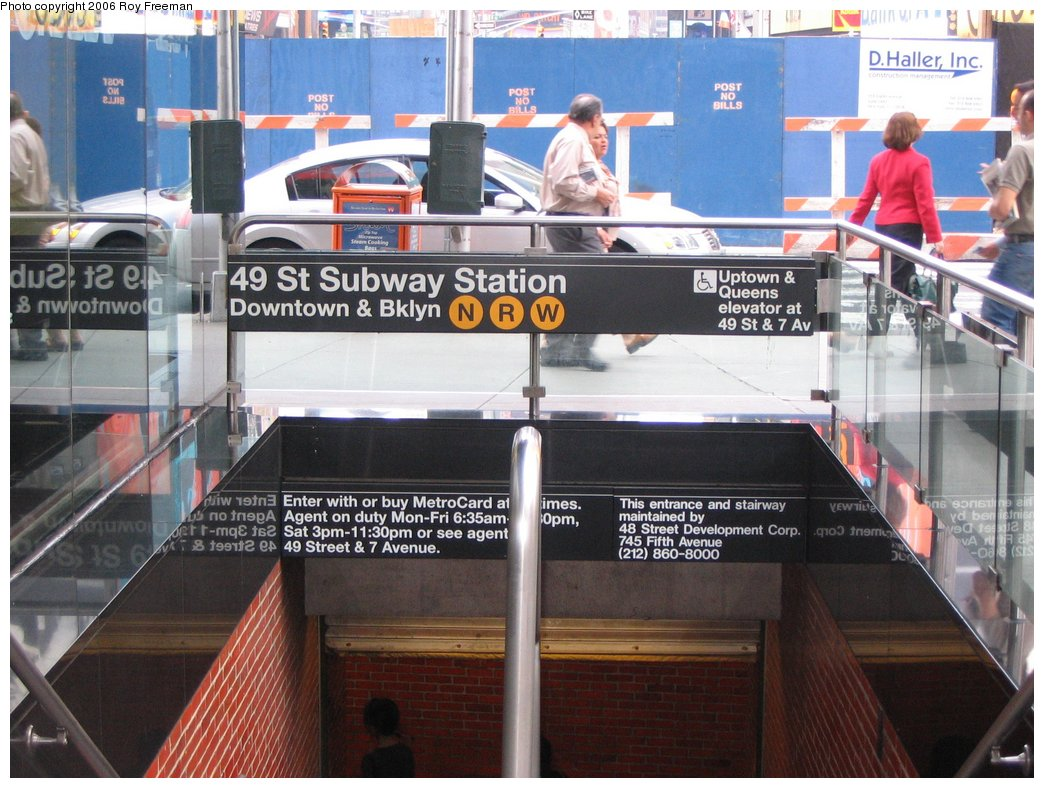 (179k, 1044x788)<br><b>Country:</b> United States<br><b>City:</b> New York<br><b>System:</b> New York City Transit<br><b>Line:</b> BMT Broadway Line<br><b>Location:</b> 49th Street <br><b>Photo by:</b> Roy Freeman<br><b>Date:</b> 9/8/2006<br><b>Notes:</b> Station entrance at N.E. corner Broadway and 47th Street.<br><b>Viewed (this week/total):</b> 2 / 3703