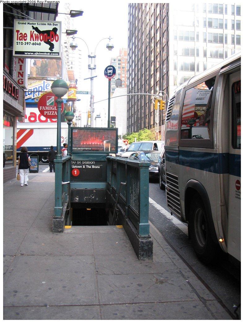 (179k, 788x1044)<br><b>Country:</b> United States<br><b>City:</b> New York<br><b>System:</b> New York City Transit<br><b>Line:</b> IRT West Side Line<br><b>Location:</b> 50th Street <br><b>Photo by:</b> Roy Freeman<br><b>Date:</b> 9/8/2006<br><b>Notes:</b> Station entrance S.E. corner 50th & Broadway facing west.<br><b>Viewed (this week/total):</b> 0 / 3179