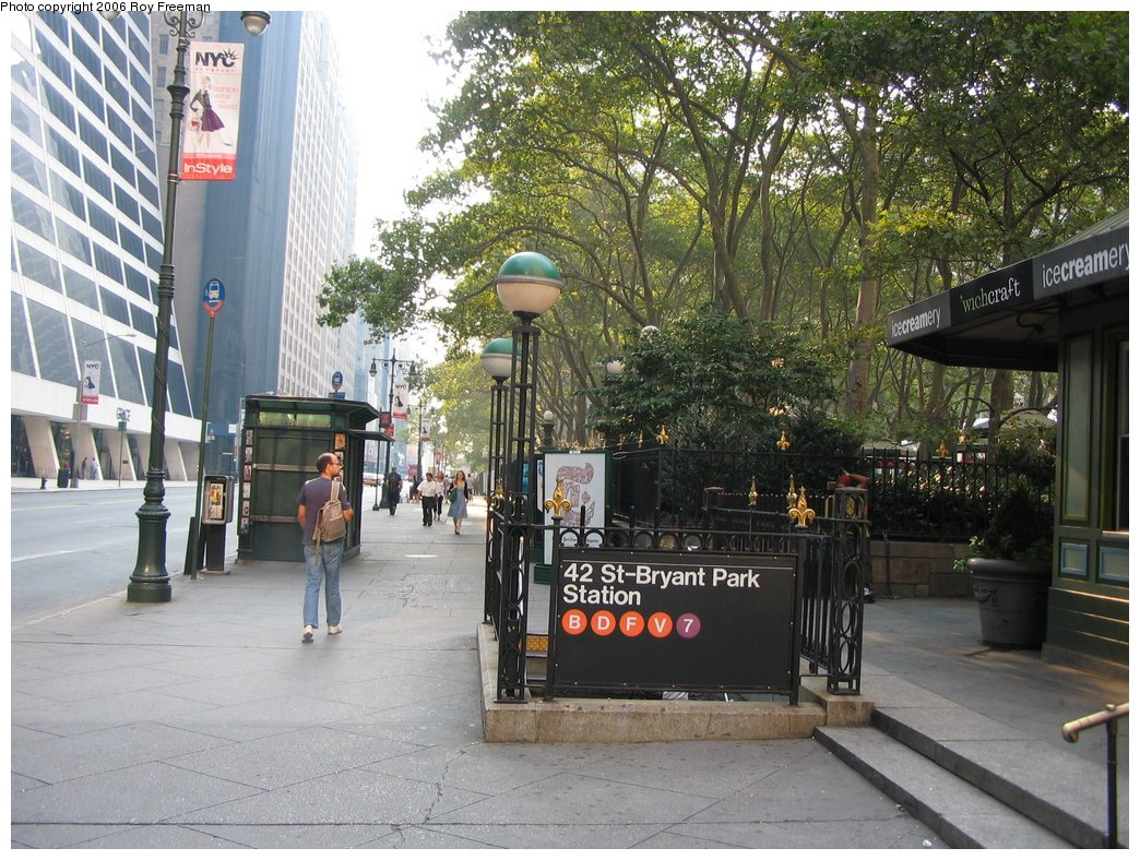 (226k, 1044x788)<br><b>Country:</b> United States<br><b>City:</b> New York<br><b>System:</b> New York City Transit<br><b>Line:</b> IND 6th Avenue Line<br><b>Location:</b> 42nd Street/Bryant Park <br><b>Photo by:</b> Roy Freeman<br><b>Date:</b> 9/9/2006<br><b>Notes:</b> Station entrance s.e. corner of 42nd & 6th.<br><b>Viewed (this week/total):</b> 0 / 2346