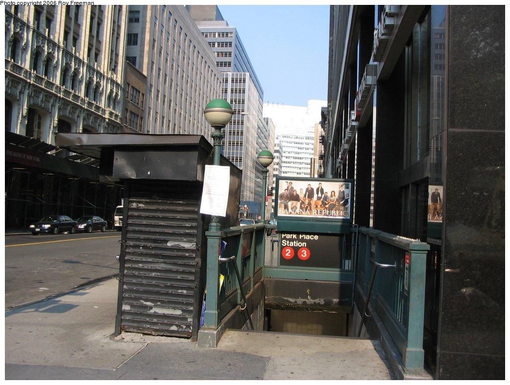 (179k, 1044x788)<br><b>Country:</b> United States<br><b>City:</b> New York<br><b>System:</b> New York City Transit<br><b>Line:</b> IRT West Side Line<br><b>Location:</b> Park Place <br><b>Photo by:</b> Roy Freeman<br><b>Date:</b> 9/9/2006<br><b>Notes:</b> Station entrance Park Place & Broadway.<br><b>Viewed (this week/total):</b> 2 / 4603