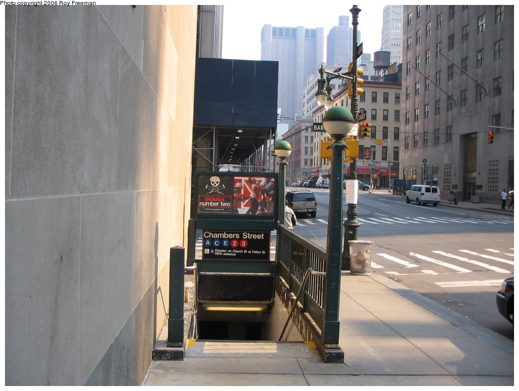 (157k, 1044x788)<br><b>Country:</b> United States<br><b>City:</b> New York<br><b>System:</b> New York City Transit<br><b>Line:</b> IND 8th Avenue Line<br><b>Location:</b> Chambers Street/World Trade Center <br><b>Photo by:</b> Roy Freeman<br><b>Date:</b> 9/9/2006<br><b>Notes:</b> Station entrance north side Barclay at Church St facing east.<br><b>Viewed (this week/total):</b> 0 / 2855