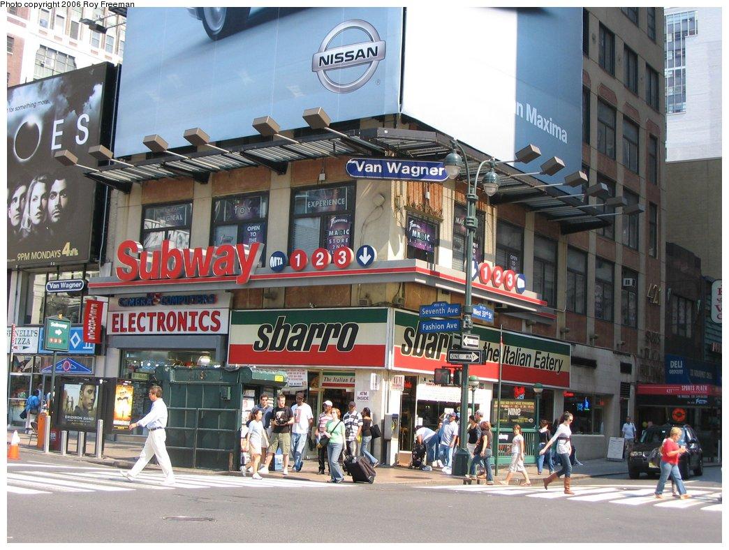 (198k, 1044x788)<br><b>Country:</b> United States<br><b>City:</b> New York<br><b>System:</b> New York City Transit<br><b>Line:</b> IRT West Side Line<br><b>Location:</b> 34th Street/Penn Station <br><b>Photo by:</b> Roy Freeman<br><b>Date:</b> 9/9/2006<br><b>Notes:</b> Station entrance n.e. corner 33rd St. & 7th Ave. facing east.<br><b>Viewed (this week/total):</b> 0 / 3677