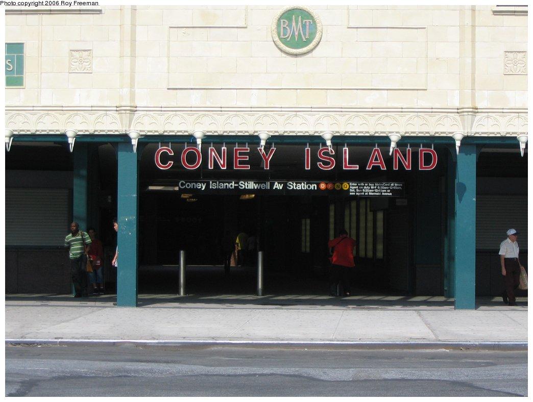 (124k, 1044x788)<br><b>Country:</b> United States<br><b>City:</b> New York<br><b>System:</b> New York City Transit<br><b>Location:</b> Coney Island/Stillwell Avenue<br><b>Photo by:</b> Roy Freeman<br><b>Date:</b> 9/8/2006<br><b>Notes:</b> Station entrance after renovations completed.<br><b>Viewed (this week/total):</b> 0 / 1721