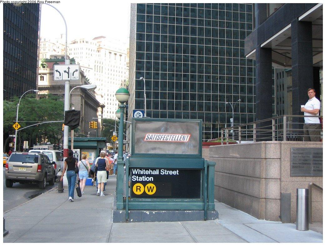 (180k, 1044x788)<br><b>Country:</b> United States<br><b>City:</b> New York<br><b>System:</b> New York City Transit<br><b>Line:</b> BMT Broadway Line<br><b>Location:</b> Whitehall Street <br><b>Photo by:</b> Roy Freeman<br><b>Date:</b> 9/8/2006<br><b>Notes:</b> Station entrance east side of Whitehall south of Water facing north.<br><b>Viewed (this week/total):</b> 1 / 3294