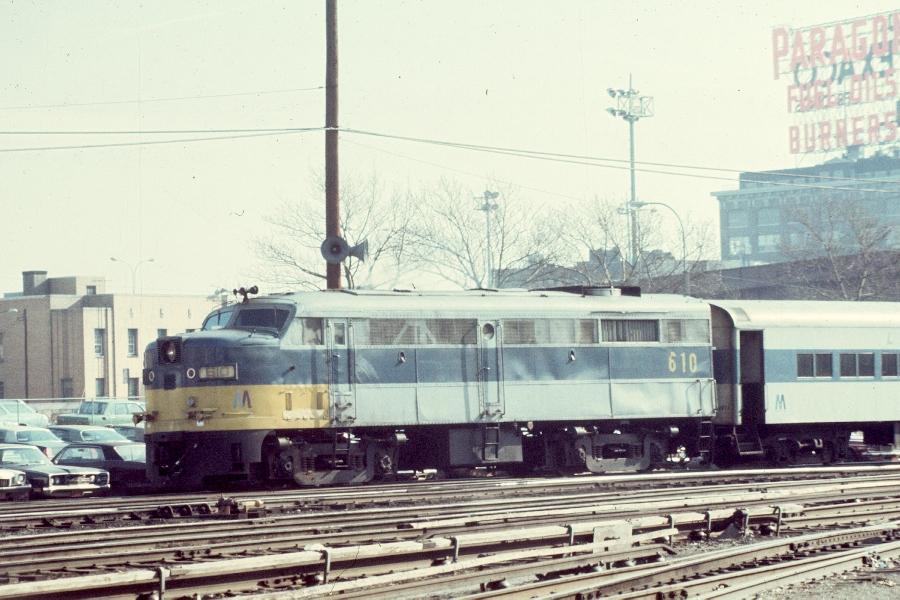 (84k, 900x600)<br><b>Country:</b> United States<br><b>City:</b> New York<br><b>System:</b> Long Island Rail Road<br><b>Line:</b> LIRR Long Island City<br><b>Location:</b> Long Island City <br><b>Car:</b> LIRR Alco FA1M (HEP/Cab Only) 610 <br><b>Photo by:</b> Harv Kahn<br><b>Date:</b> 3/15/1976<br><b>Viewed (this week/total):</b> 2 / 1222