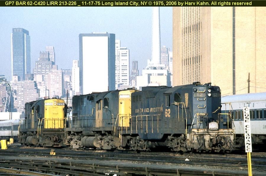 (104k, 900x598)<br><b>Country:</b> United States<br><b>City:</b> New York<br><b>System:</b> Long Island Rail Road<br><b>Line:</b> LIRR Long Island City<br><b>Location:</b> Long Island City <br><b>Car:</b>  62 <br><b>Photo by:</b> Harv Kahn<br><b>Date:</b> 11/17/1975<br><b>Viewed (this week/total):</b> 3 / 1375