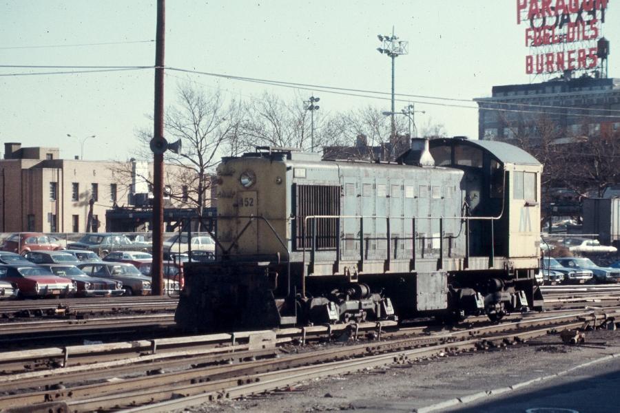 (97k, 900x600)<br><b>Country:</b> United States<br><b>City:</b> New York<br><b>System:</b> Long Island Rail Road<br><b>Line:</b> LIRR Long Island City<br><b>Location:</b> Long Island City <br><b>Car:</b> LIRR Alco S-2  452 <br><b>Photo by:</b> Harv Kahn<br><b>Date:</b> 2/23/1976<br><b>Viewed (this week/total):</b> 0 / 1164