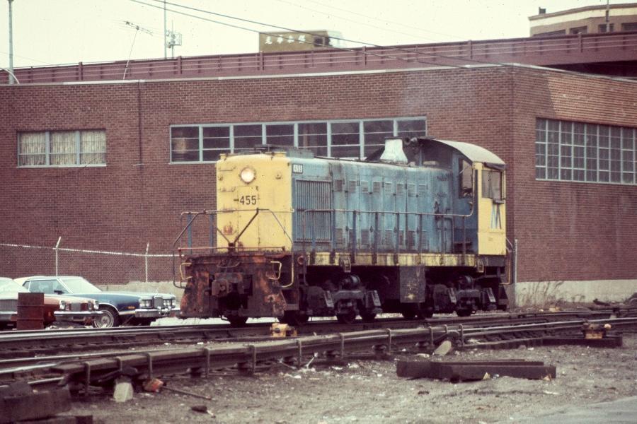 (95k, 900x600)<br><b>Country:</b> United States<br><b>City:</b> New York<br><b>System:</b> Long Island Rail Road<br><b>Line:</b> LIRR Long Island City<br><b>Location:</b> Long Island City <br><b>Car:</b> LIRR Alco S-2  455 <br><b>Photo by:</b> Harv Kahn<br><b>Date:</b> 3/9/1976<br><b>Viewed (this week/total):</b> 0 / 1090