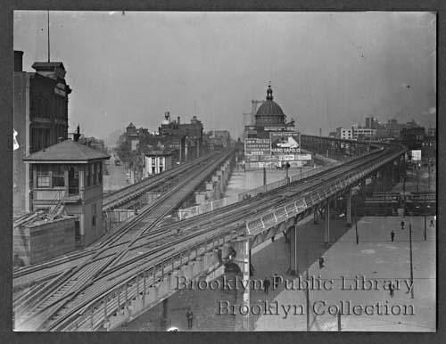 (82k, 500x386)<br><b>Country:</b> United States<br><b>City:</b> New York<br><b>System:</b> New York City Transit<br><b>Line:</b> BMT Nassau Street/Jamaica Line<br><b>Location:</b> Marcy Avenue <br><b>Collection of:</b> Brooklyn Public Library (via Herbert Maruska)<br><b>Date:</b> 1913<br><b>Viewed (this week/total):</b> 0 / 2169