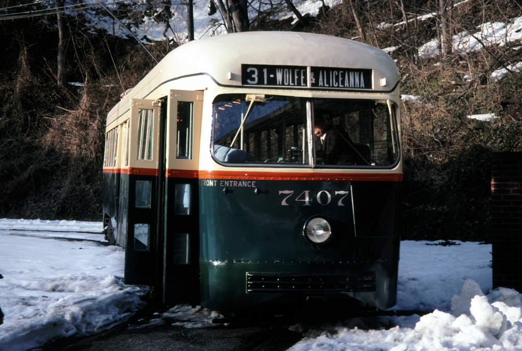 (283k, 1024x689)<br><b>Country:</b> United States<br><b>City:</b> Baltimore, MD<br><b>System:</b> Baltimore Streetcar Museum <br><b>Car:</b> PCC 7407 <br><b>Photo by:</b> Chris Leverett<br><b>Date:</b> 2/6/2000<br><b>Viewed (this week/total):</b> 2 / 1138