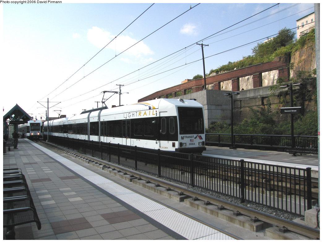 (224k, 1044x788)<br><b>Country:</b> United States<br><b>City:</b> Hoboken, NJ<br><b>System:</b> Hudson Bergen Light Rail<br><b>Location:</b> 2nd Street <br><b>Car:</b> NJT-HBLR LRV (Kinki-Sharyo, 1998-99)  2006 <br><b>Photo by:</b> David Pirmann<br><b>Date:</b> 9/28/2006<br><b>Viewed (this week/total):</b> 0 / 1749