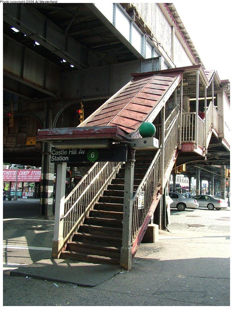 (220k, 788x1044)<br><b>Country:</b> United States<br><b>City:</b> New York<br><b>System:</b> New York City Transit<br><b>Line:</b> IRT Pelham Line<br><b>Location:</b> Castle Hill Avenue <br><b>Photo by:</b> Al Westerfield<br><b>Date:</b> 9/18/2006<br><b>Notes:</b> Station entrance.<br><b>Viewed (this week/total):</b> 1 / 3837