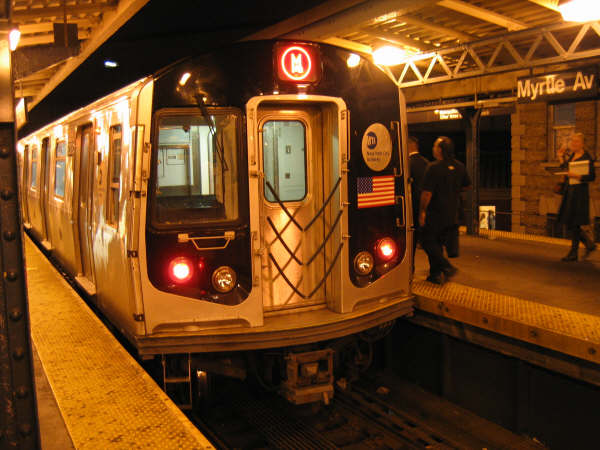 (52k, 600x450)<br><b>Country:</b> United States<br><b>City:</b> New York<br><b>System:</b> New York City Transit<br><b>Line:</b> BMT Nassau Street/Jamaica Line<br><b>Location:</b> Myrtle Avenue <br><b>Route:</b> M<br><b>Car:</b> R-143 (Kawasaki, 2001-2002)  <br><b>Photo by:</b> Professor J<br><b>Date:</b> 9/30/2006<br><b>Viewed (this week/total):</b> 4 / 4737