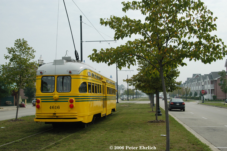 (256k, 864x574)<br><b>Country:</b> United States<br><b>City:</b> Kenosha, WI<br><b>System:</b> Kenosha Electric Railway<br><b>Location:</b> 56th St. & 5th Ave. (Eastbound) <br><b>Car:</b> PCC (TTC Toronto) 4616 <br><b>Photo by:</b> Peter Ehrlich<br><b>Date:</b> 8/26/2006<br><b>Viewed (this week/total):</b> 0 / 2228